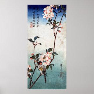 八重桜に鳥 körsbärsröd blommar för 広重 fågel Hiroshi Affisch