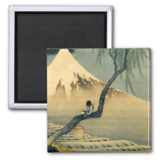 富士と少年, 北斎 Mount Fuji och pojke, Hokusai, Ukiyo-e Kylskåps Magneter