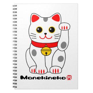 招き猫 Manekineko (den lyckliga katten som görar teck Anteckningsbok Med Spiral