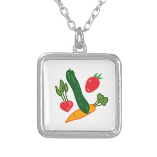 新鮮でおいしい野菜のイラストグッズ Fresh and delicious vegetables o Silverpläterat Halsband
