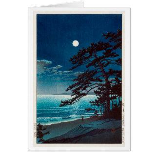 月の二宮海岸 川瀬巴水måne på den Ninomiya stranden, Hasui Hälsningskort