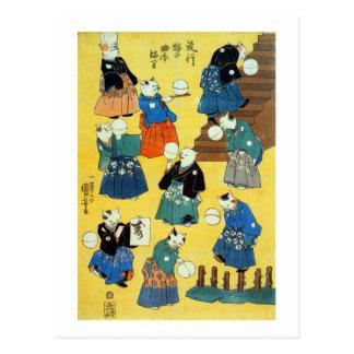 猫の曲芸師 国芳akrobat av katterna, Kuniyoshi, Ukiyo-e Vykort