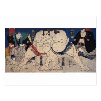 相撲 国芳Sumobrottning, Kuniyoshi, Ukiyo-e Vykort