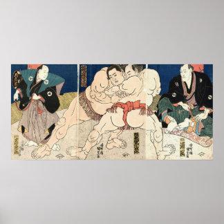 相撲 国貞Smou brottning, Kunisada Poster