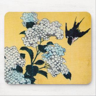 紫陽花と燕, 北斎vanlig hortensia och svala, Hokusai, Musmatta