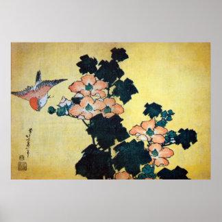 芙蓉に雀, 北斎hibiskus Mutabilis och Sparrow, Hokusai Poster