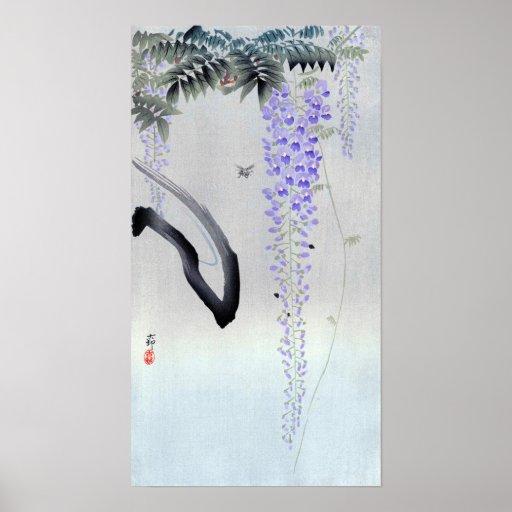 藤の花 古邨blommarWisteria, Ohara Koson, träsnitt Poster