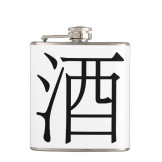 酒 det kinesiska teckenet för sprit! Ss-flaska Fickplunta
