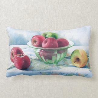 0002 äpplen i grön Glass bunke kudder Prydnadskudde