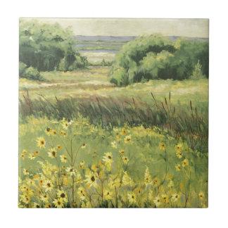 0545 landskap med solrosor kakelplatta