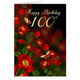 100. Födelsedagkort med djupt - röda blommor Hälsningskort