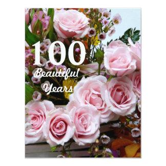 100 härliga år! - Födelsedagsfest/rosa ros 10,8 X 14 Cm Inbjudningskort