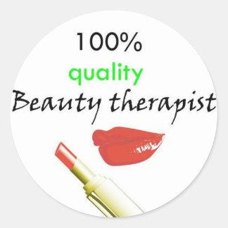 100% kvalitets- skönhetterapeut runt klistermärke