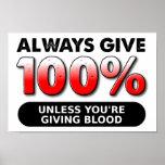 100 procent av den roliga affischen för blod affischer