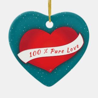 100% rena kärlek hjärtformad julgransprydnad i keramik