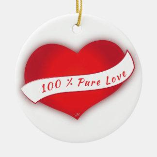 100% rena kärlek rund julgransprydnad i keramik