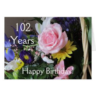 102. födelsedag för lycklig! Rosa rosbukett Hälsningskort