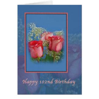 102. Födelsedag religiösa, röd ros Hälsningskort