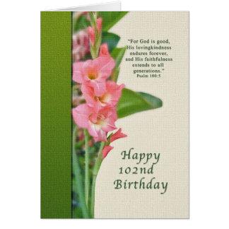 102. Födelsedag rosa Gladiolus Hälsningskort