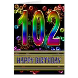 102. Födelsedagen med regnbågen bubblar och Hälsningskort
