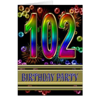 102. Födelsedagsfest inbjudan Hälsningskort