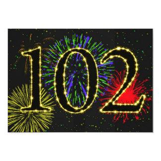 102. födelsedagsfestinvitate 12,7 x 17,8 cm inbjudningskort