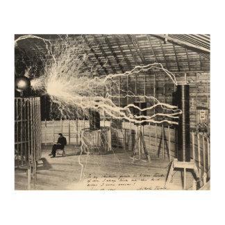 """10"""" x8"""" Nikola Tesla i hans Wood väggkonst för Trätavla"""