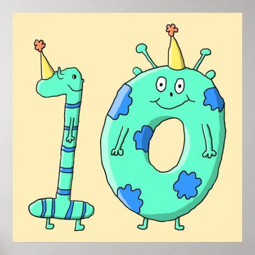 10th Födelsedagtecknad, krickagrönt och Blue. Posters