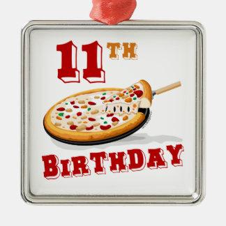 11th FödelsedagPizzaparty Silverfärgad Fyrkantigt Julgransprydnad