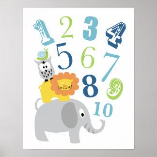 123 numrera väggkonst poster