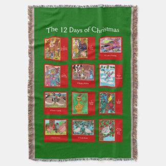 12 dagar av gulliga djur för jul filt
