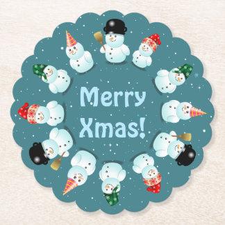 12 lyckliga snögubbear underlägg papper