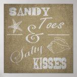 """12"""" x 12"""" affisch - sandiga Toes & salt kyssar"""