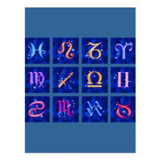 12 Zodiactecken och konstellationerna Vykort
