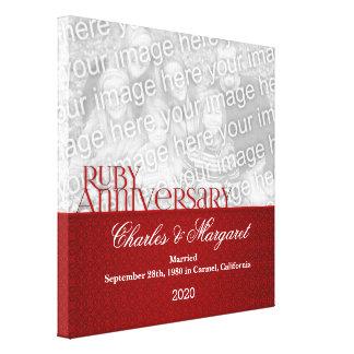 12x12 för årsdagfoto för Ruby 60th kanfas Canvastryck