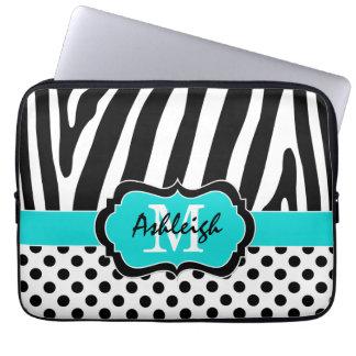 """13"""" den svart zebra ränderpolkaen för Aqua pricker Laptop Datorskydd"""
