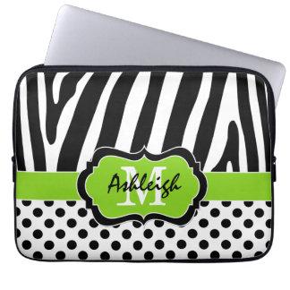 """13"""" den svart zebra ränderpolkaen för limefrukt pr laptop datorfodral"""