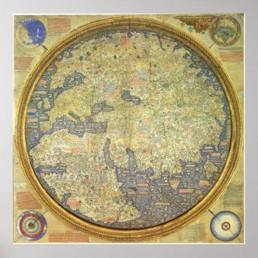 1460 inverterade världskartan för Fra den Mauro Affischer