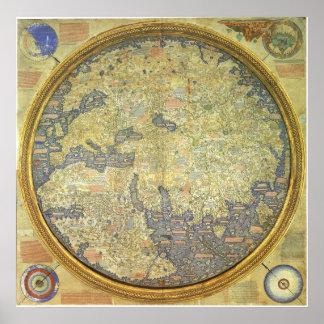 1460 inverterade världskartan för Fra den Mauro Poster