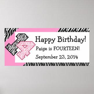 14th Födelsedagsebra med det rosa Poster