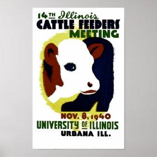 14th Illinois nötkreaturförlagematare som möter - Poster