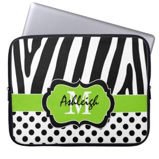 """15"""" den svart zebra ränderpolkaen för limefrukt pr laptopfodral"""