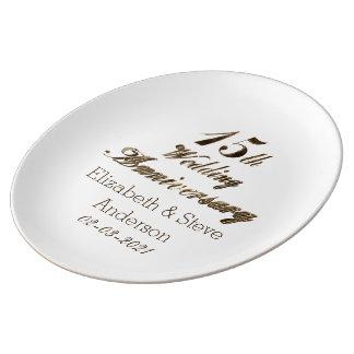 15th Guld för bröllopsdagtypografielegant Porslinstallrik