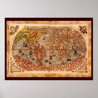 15th Konst för karta för gammal värld för Poster