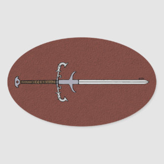 16th Århundrade uthärda svärd Ovalt Klistermärke