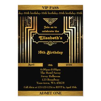 16th födelsedag 16th, Gatsby stil, biljett, svart 12,7 X 17,8 Cm Inbjudningskort