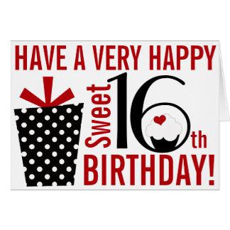 16th födelsedag för djärv sötsak för modsvart röd  hälsningskort