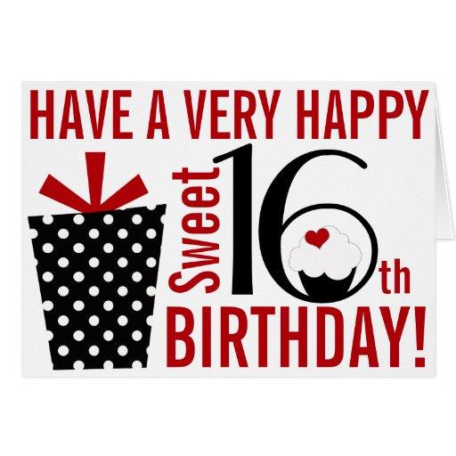 16th födelsedag för djärv sötsak för modsvart röd  hälsnings kort