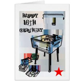 16th födelsedagkort för Retro lycklig Hälsningskort