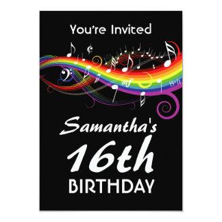 16th födelsedagsfest för regnbågevitmusik noter 12,7 x 17,8 cm inbjudningskort
